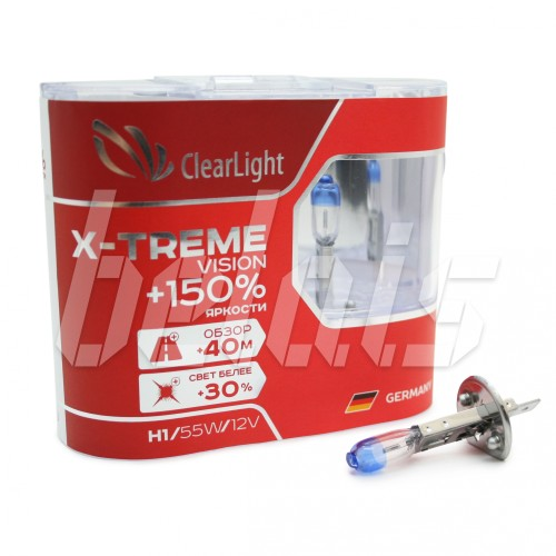 Лампы галогенные «ClearLight» H1 X-treme Vision +150% (12V-55W)